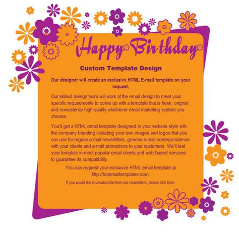 Happy Birthday Free Html E Mail Templates Happy Birthday Email Template