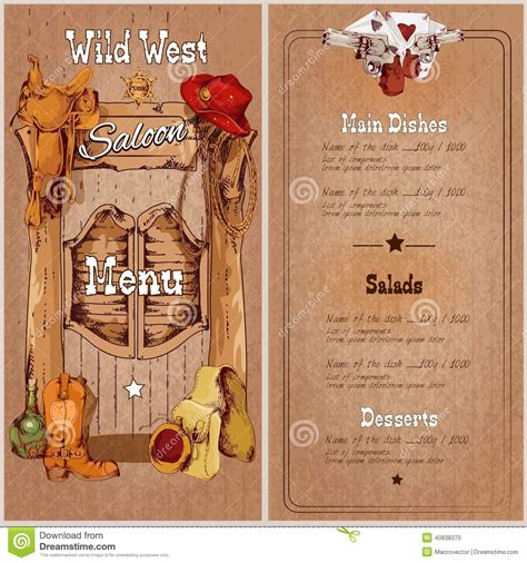 wild west saloon menu stock vector image of paper play
