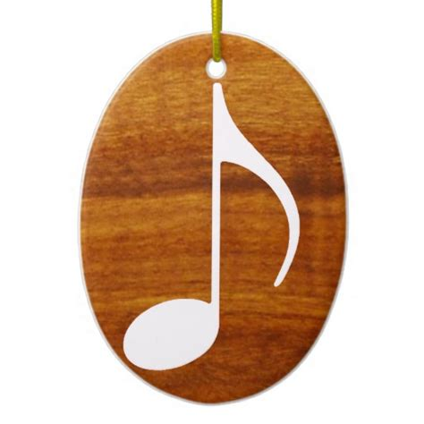custom music note on wood double sided oval ceramic