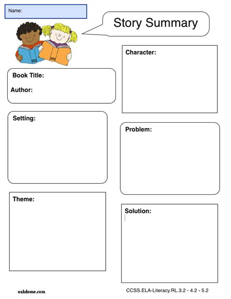 story setting template graphic organizer story summary plain pages