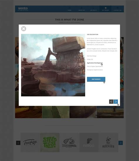 layout portfolio psd vento single page portfolio psd layout by wellmadepixel