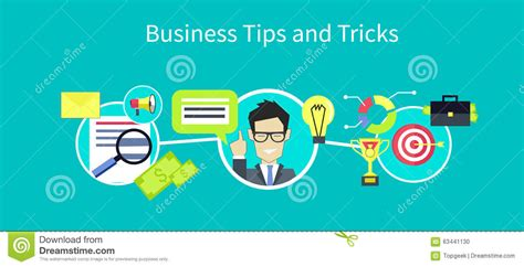 tips and solution business tips and tricks design stock vector image 63441130