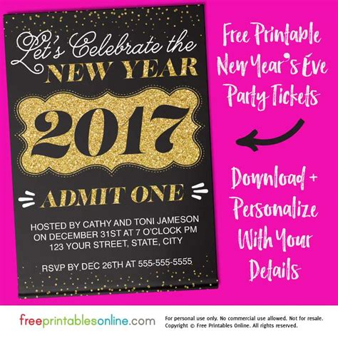 New Years Ticket Template Gilded Nye Bash New Year S Eve Ticket Template Free Printables Online