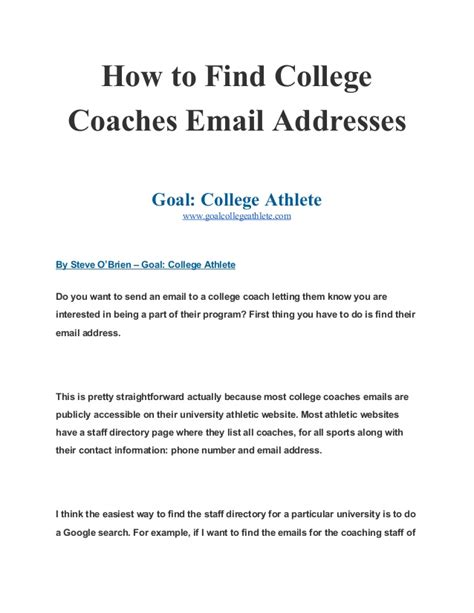 How To Search Email Addresses On How To Find College Coaches Email Addresses