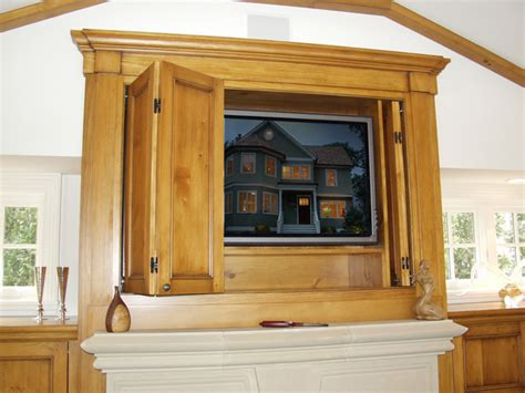 Fireplace Tv Cabinet W Pocket Doors Traditional Tv Cabinets With Doors