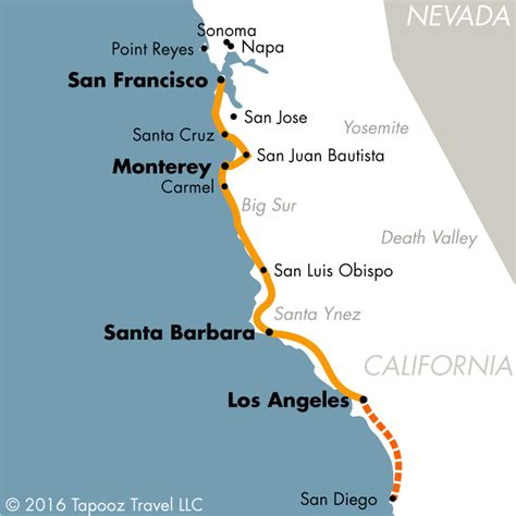 Map Of Pch From La To San Francisco - san francisco los angeles trip on highway 1
