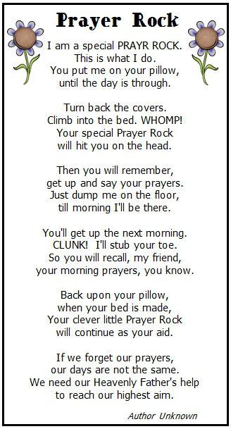 prayer rock printable poem sunday school pinterest