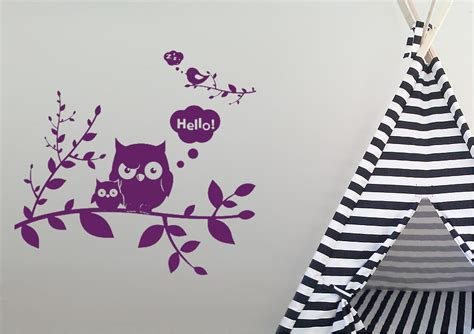 Owl Hello hello owl tree childrens wall stickers adhesive wall sticker