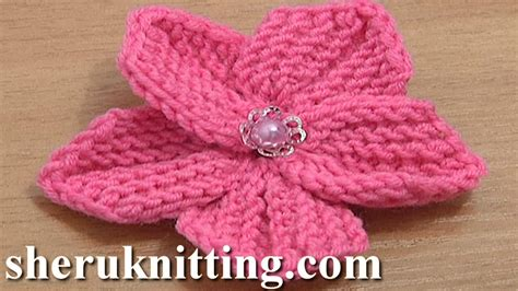 how to knit a flower beautiful five petal flower to knit tutorial 10 knitting