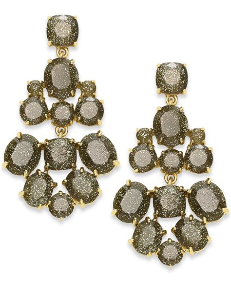 Lyst Kate Spade New York Gold Tone Glitter Stone Kate Spade Chandelier Earrings