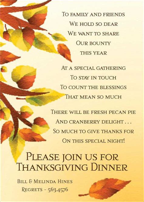 Thanksgiving Invitation Card Template by Thanksgiving Invitations