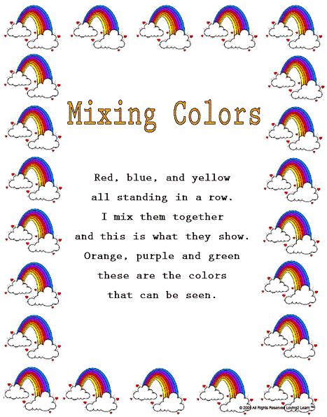 teaching colors mixing colors rhyme and learning