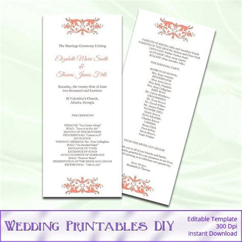 47 Best Images About Wedding Templates On Pinterest Program Fans Coral Wedding Invitations Diy Wedding Program Template