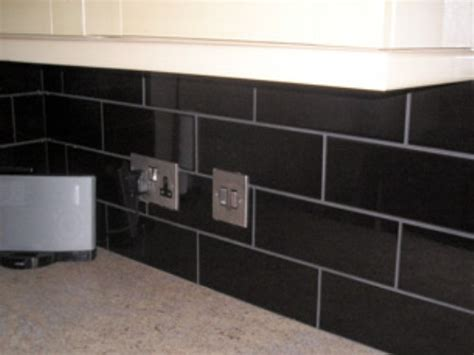 black subway tile kitchen backsplash black glass subway tile backsplash