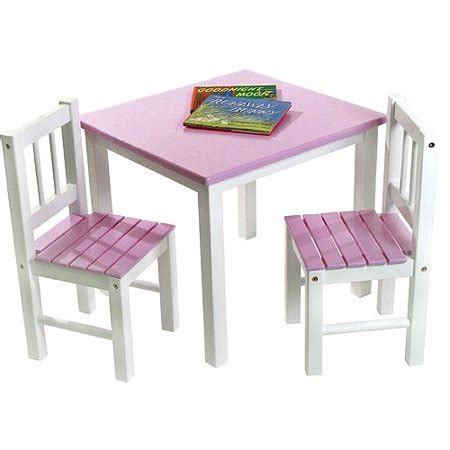 toddler solid wood table  chair set pink white