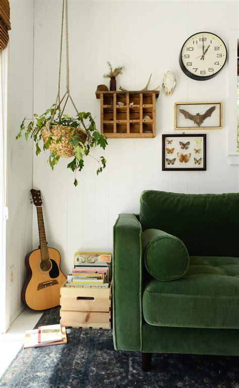 lush green velvet sofas  cozy living rooms
