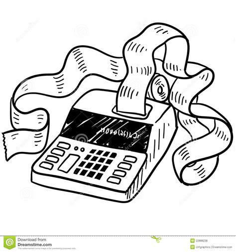 doodle how to add times adding machine sketch stock illustration image of filing