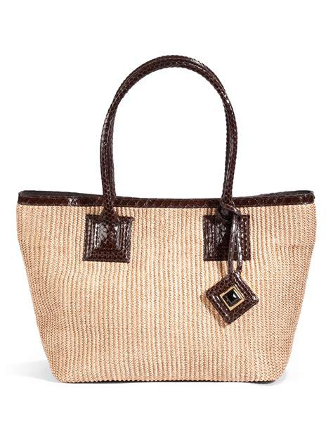 kara ross medium elata straw tote bag in brown straw