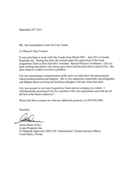 Recommendation Letter For From Coworker Letter Of Recommendation Co Worker Cover Letter Exle