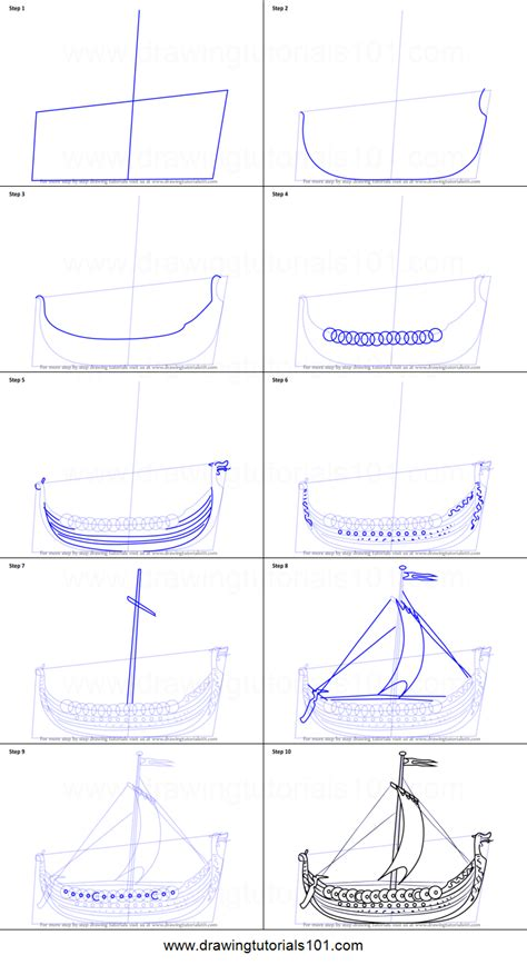 how to draw a viking ship printable step by step drawing - How To Draw A Viking Boat Step By Step