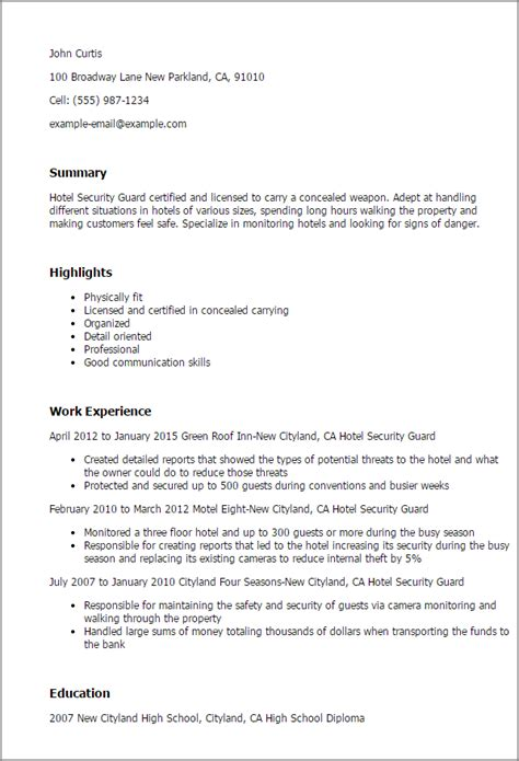 basic resume format for security guard hotel security guard resume template best design tips myperfectresume