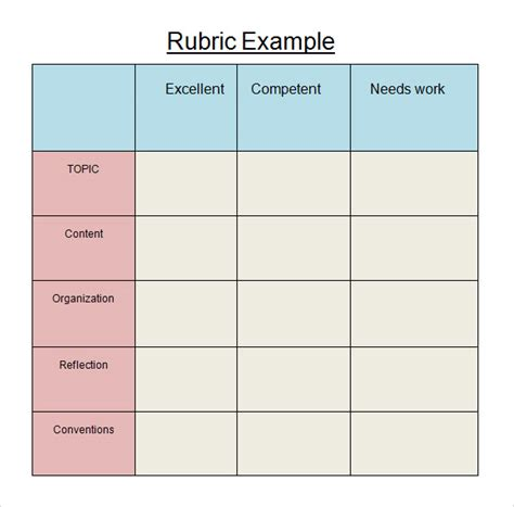 rubric templates sle blank rubric 9 documents in word pdf