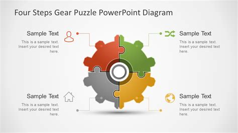 how to create gear diagrams in powerpoint using shapes four step gear puzzle shape template slidemodel