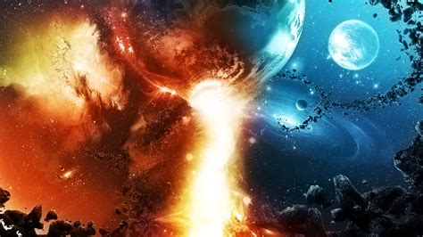cool universe wallpaper galaxies colide abstract cg cool destruction digital art