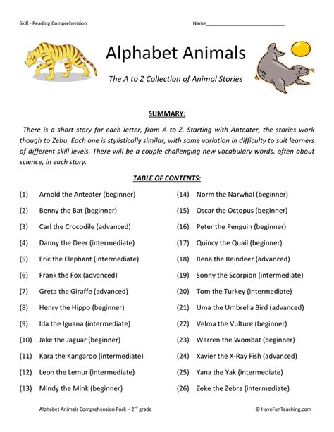 2nd Grade Common Reading Worksheets by Alphabet Animals Reading Comprehension Test Collection