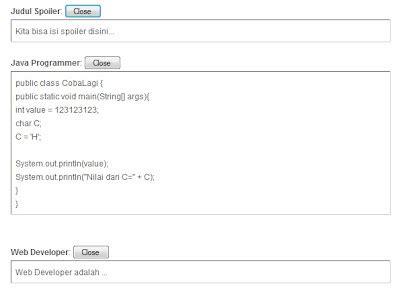 membuat spoiler html membuat spoiler di blog kode direktori