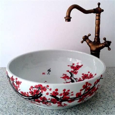 painted bathroom sinks hand painted plum flower ceramic sink asian bathroom