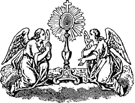 Angels With Monstrance Coloring Page Catholic Coloring Monstrance Coloring Page