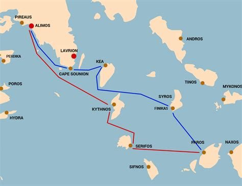 sailing northern greece sailing route northern middle cyclades sail greece