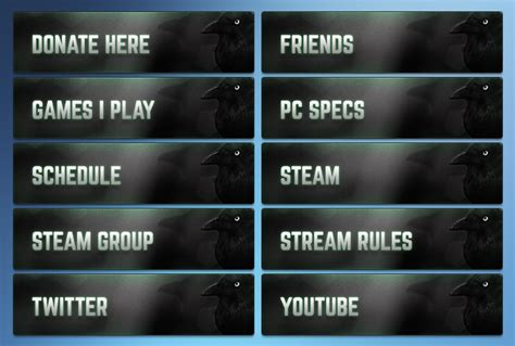 Design Up To 10 Twitch Panel Graphics Fiverr Twitch Info Templates