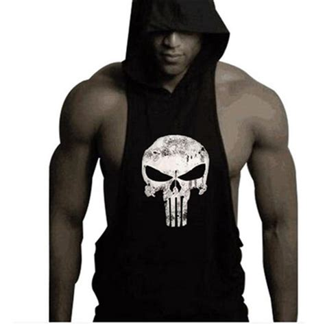 Sweater Hoodie The Puniser Best Clothing 2017 2016 mens bodybuilding clothing sleeveless hoodie the
