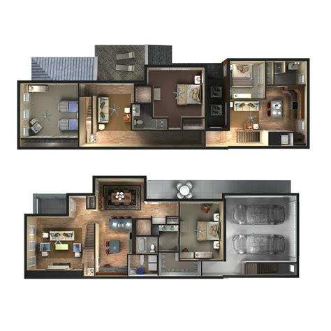 floor plan rendering techniques 3d townhome floor plan rendering d plans drawings