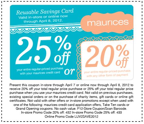 maurices outlet printable coupons maurices 20 25 off printable coupon