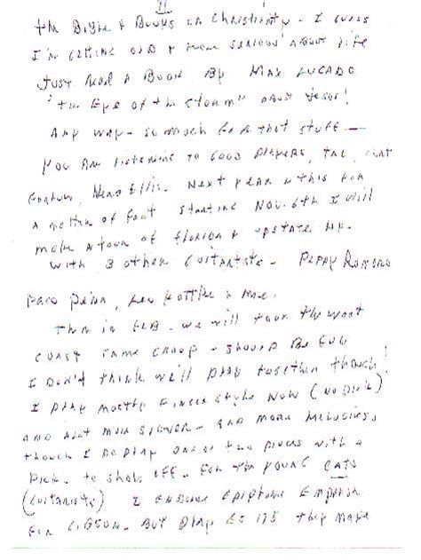 Late Endorsement Letter Guitarzan Joe Pass Letter Acknowledging Epiphone Endorsement
