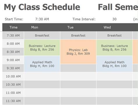 College School Schedule Template Cortezcolorado Net College Schedule Template