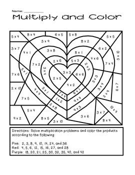 valentines coloring pages math valentine s day multiply and color activity by the busy