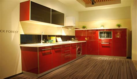 red lacquer kitchen cabinets red lacquer kitchen cabinet with wooden floor