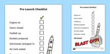 Space Travel Pre Launch Checklist Check List Space Travel Course Launch Template