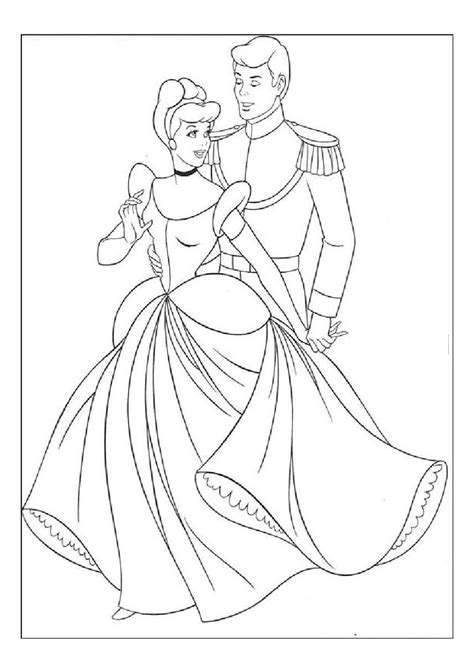 mewarna gambar cinderella and prince charming coloring