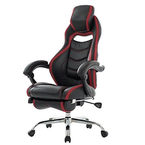 reclining cing chair with footrest viva office fashionable high back bonded leather racing