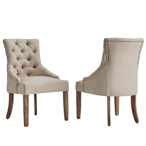 Linen Tufted Dining Chairs Homesullivan Marjorie Beige Linen Button Tufted Dining Chair Set Of 2 40e217c Bl2p The Home