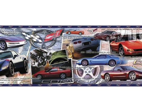 history of the corvette pre pasted wallpaper border