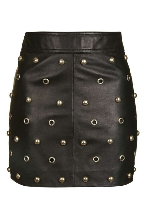 stud front leather skirt skirts clothing topshop