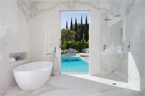 pool bathroom remodeled bathroom with calacatta marble walls pocket