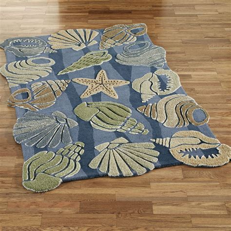 complete  theme   cottage   sea   seashell wave area rugs hand tufted