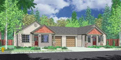 Cottage House Plans With Garage by One Level Duplex House Plans Corner Lot Duplex Plans